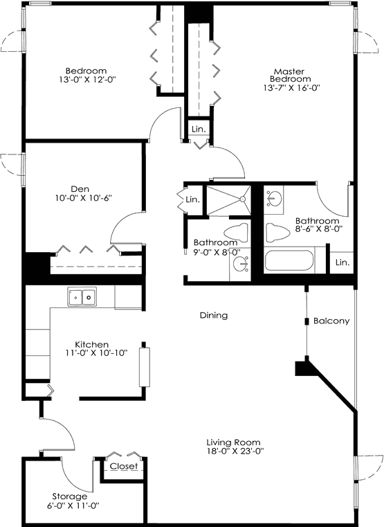 Floor Plan Unit F 7500 York